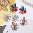 fashion niche flower inlaid colored full diamond  earrings for women NHJQ259520