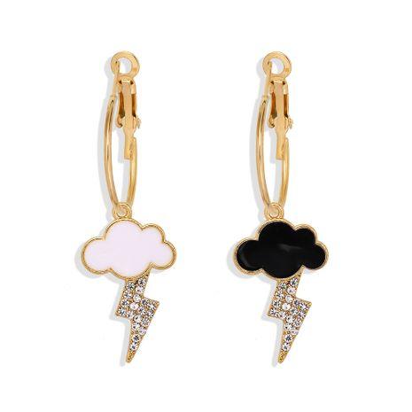 Boucles d'oreilles cloutées de diamants en alliage de foudre nuage noir NHJQ259521's discount tags