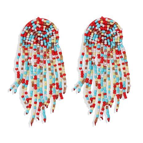 Bohemian style long retro tassel handmade beaded earrings hot-saling NHJQ259525's discount tags