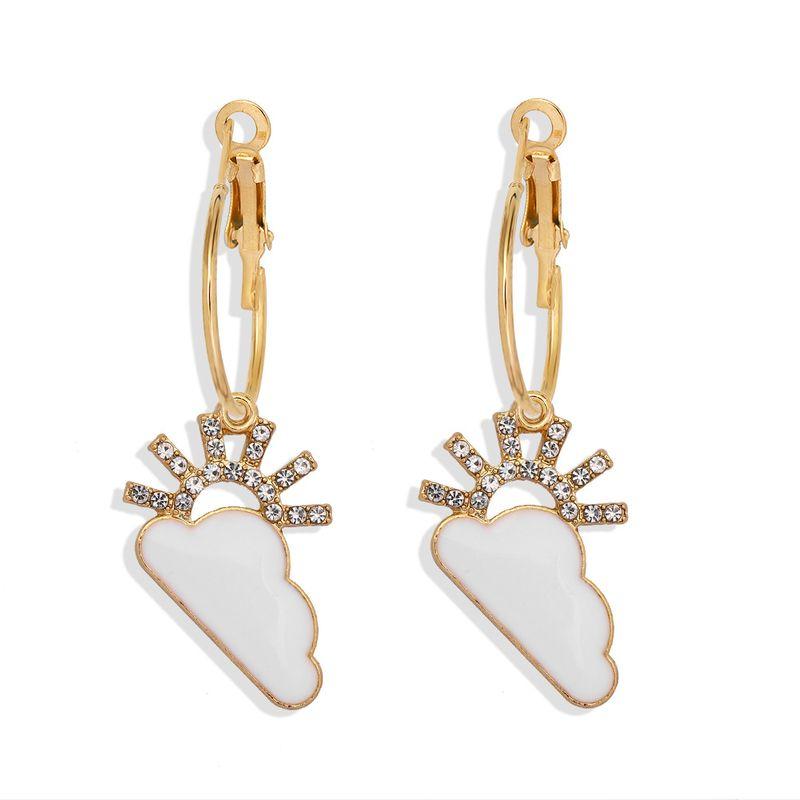 Korean new alloy micro diamond cute cloud cartoon wild  heart earrings wholesale NHJQ259531