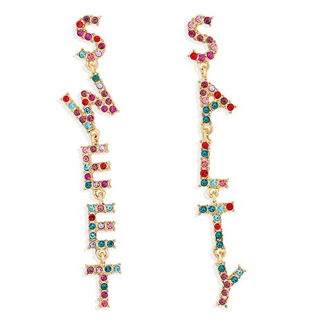 fashion new exaggerated asymmetric letter color symbol rhinestone recommended earrings NHJQ259533's discount tags