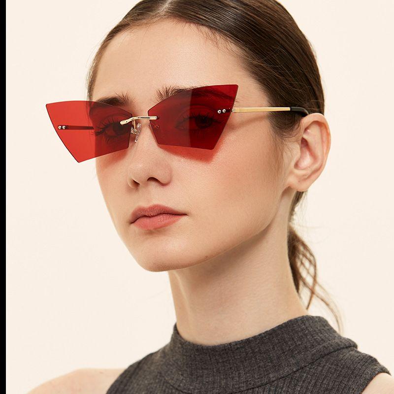 Borderless Angular Cat Eye Color Retro Sunglasses  NHXU259553