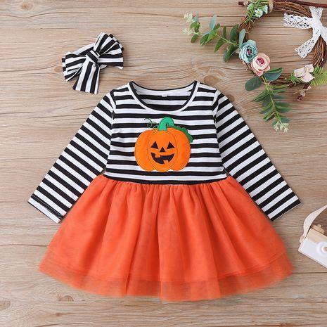 Vente chaude mode Halloween nouvelle robe pour enfants bébé citrouille robe à manches longues NHLF259627's discount tags