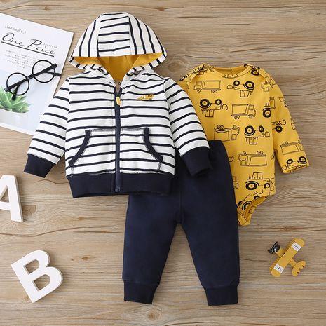 Baby three-piece zipper jacket romper jumpsuit zipper jacket trousers suit NHLF259630's discount tags