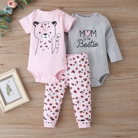 Cute long-sleeved one-piece three-piece baby fashion pants suit wholesale  NHLF259641's discount tags