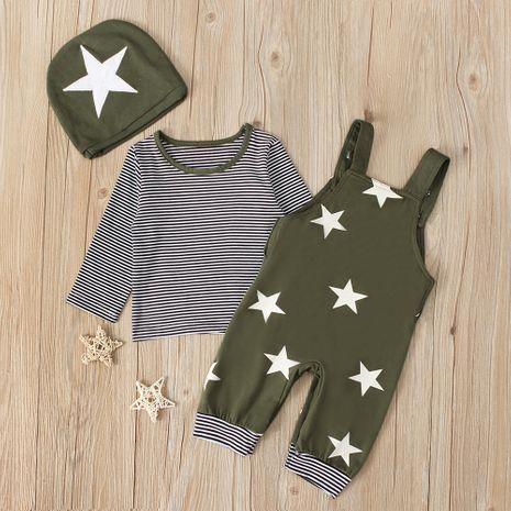Traje de manga larga casual con estampado de estrella de bebé de dos piezas para bebé de niño NHLF259646's discount tags