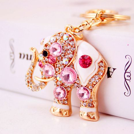 Porte-clés éléphant en pierre précieuse créative coréenne NHAK259691's discount tags