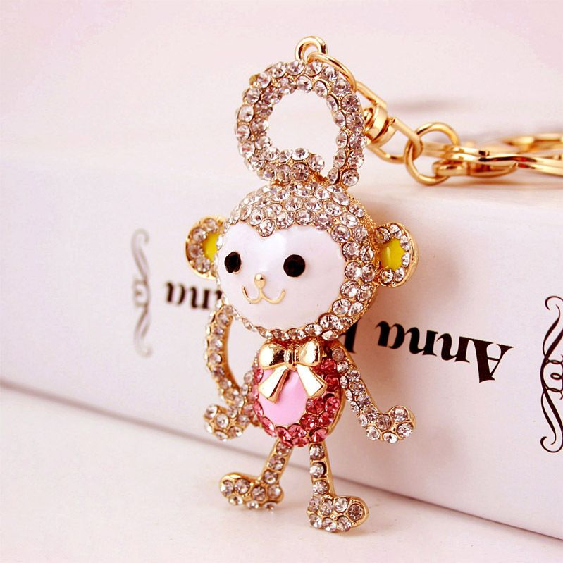 Korean  creative diamond-studded long-tailed monkey car keychain  NHAK259704
