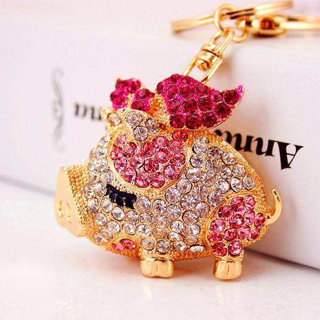 Porte-clés de voiture de cochon de zodiaque diamant mignon créatif NHAK259708's discount tags
