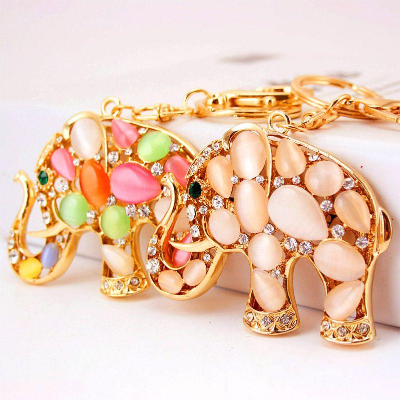 Korean  opal color elephant  key chain  NHAK259710