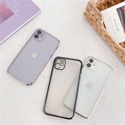 cube straight edge solid color electroplating Apple 11promax mobile phone case for 8plus transparent soft shell XR embossed se2 NHFI259725