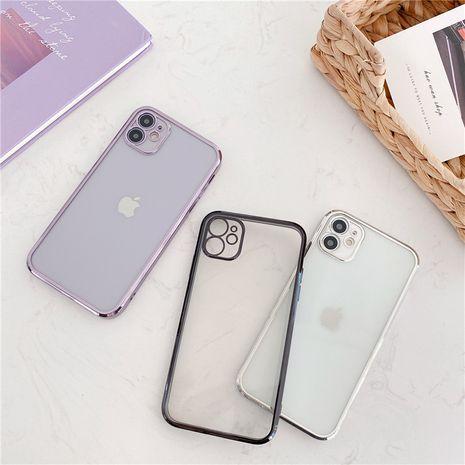 Cube bord droit couleur unie galvanoplastie étui de téléphone portable Apple 11promax pour 8plus coque souple transparente XR en relief se2 NHFI259725's discount tags