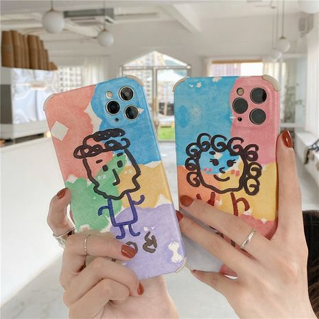 Étui de téléphone portable Apple 11pro mignon graffiti amusant pour garçons et filles pour 8plus coque souple anti-chute XR en relief SE NHFI259729's discount tags