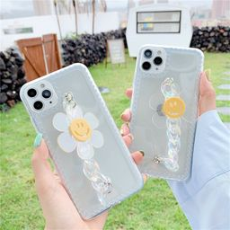 Transparent laser chain smiley face sunflower phone case suitable for apple 11Promax se2 XR  NHFI259733