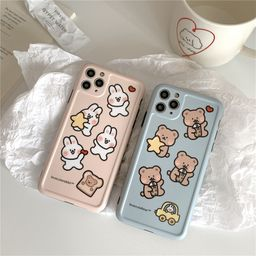 Cartoon Bear Bunny Apple 11Promax mobile phone case for iphone7se2 protective cover Huawei P40pro NHFI259736