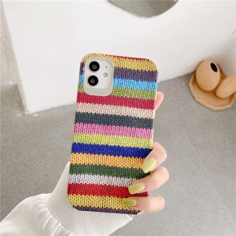 Laine à tricoter de couleur adaptée à la coque de téléphone portable 11Promax Apple X XS XR iPhone7p 8plus silicone NHFI259746's discount tags