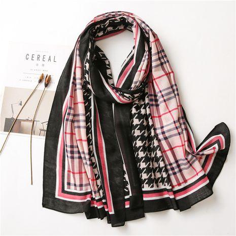 Écharpe en soie longue douce en coton et lin à impression géométrique de mode NHGD259777's discount tags