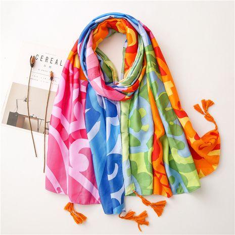 Écharpe en soie à pompon en coton sergé NHGD259795's discount tags