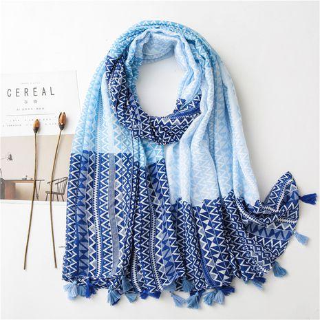 Écharpe en soie géométrique de diamant bleu de long châle de mode de vente chaude NHGD259801's discount tags