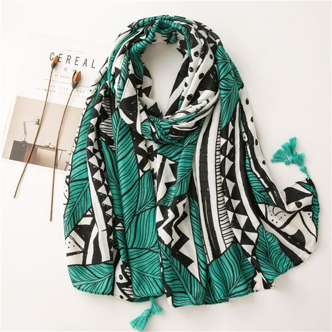 Abstract cotton and linen geometric leaves sunscreen shawl wholesale NHGD259811's discount tags
