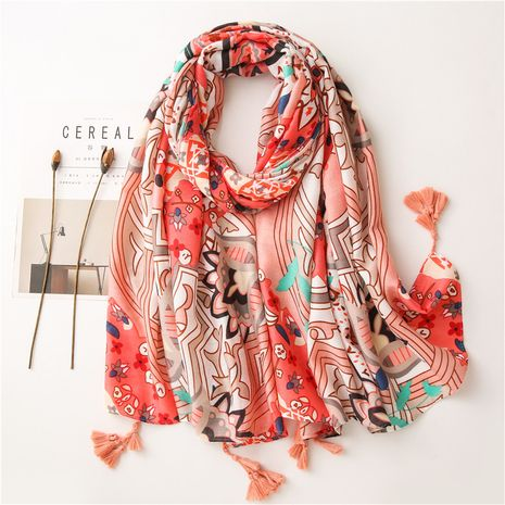 Cotton and linen orange powder flower long silk scarf wholesale NHGD259813's discount tags