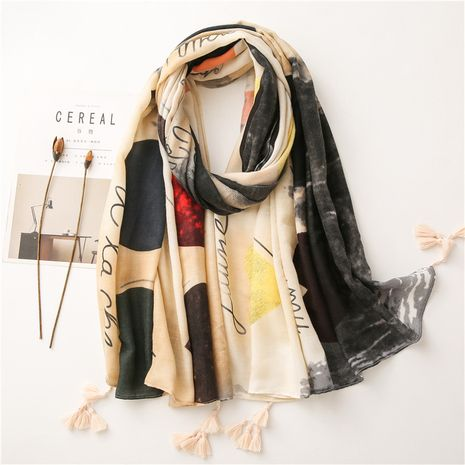 Hot selling fashion love graffiti wind cotton and linen scarf wholesale NHGD259814's discount tags