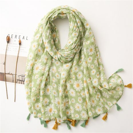 Hot selling fashion green sun flower cotton and linen scarf wholesale NHGD259815's discount tags