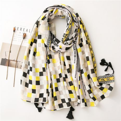 Geometric mosaic style cotton and linen scarf wholesale NHGD259816's discount tags