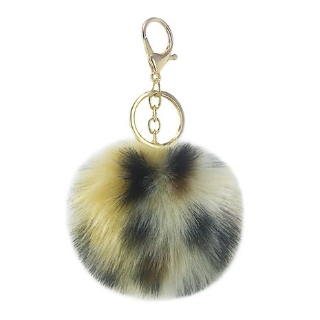 Hot selling fashion leopard print stitching multi-color fur ball keychain pendant  NHAP259827's discount tags