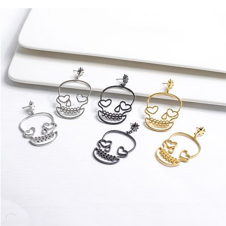 Korean new fashion metal skull cute funny women's earrings hot sale NHGY259853's discount tags