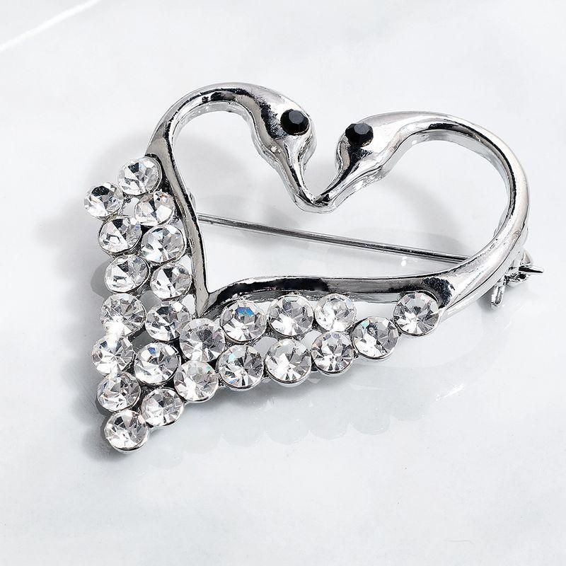 Hot selling heartshaped swan diamond brooch dress accessories  NHHS259855
