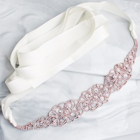 Hot selling fashion rhinestone bridal wedding dress woven wild belt NHHS259876's discount tags