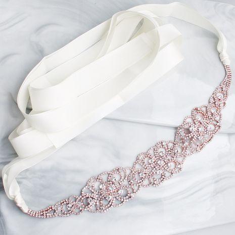 Hot selling fashion rhinestone bridal wedding dress woven wild belt NHHS259876's discount tags
