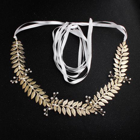 Accessoires de mariage de feuille d'or de perle de ceinture de mariage NHHS259883's discount tags