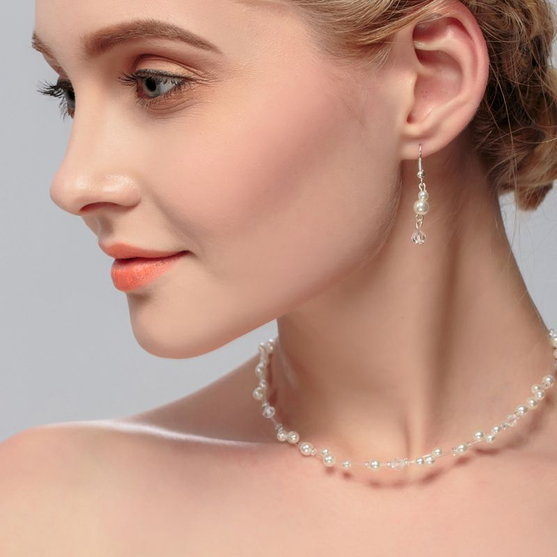Hotselling Childrens Crystal Pearl Matching Wedding Flower Girl Earring Necklace set NHHS259894