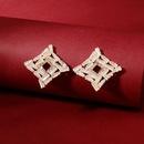 Fashion new irregular square fine flash zircon daily wild trend earrings  NHHS259902