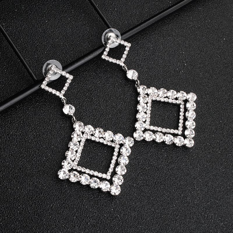 Fashion new exaggerated geometric long alloy diamond trend alloy earrings NHHS259908