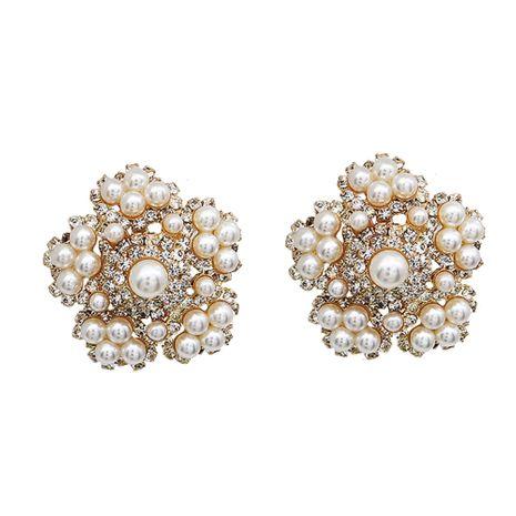 Moda vendedora caliente sin pendientes retro perforados de perlas de flores NHHS259912's discount tags