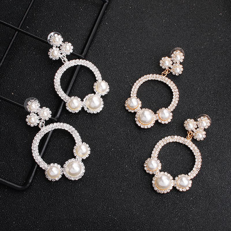 new fashion diamondstudded pearl banquet dress long alloy earrings NHHS259913