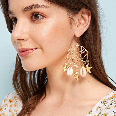 Mode neue Muschel Kreis Traumfänger Retro Ohrringe für Frauen NHRN259929's discount tags