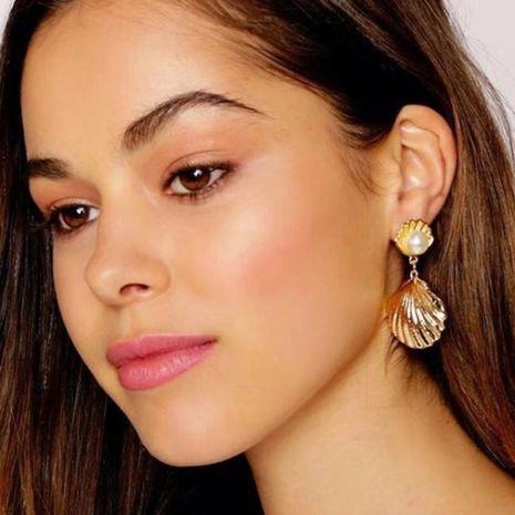 heiß verkaufte neue Mode Metall vergoldete Muschelperlen Ohrringe für Frauen Großhandel NHRN259932's discount tags
