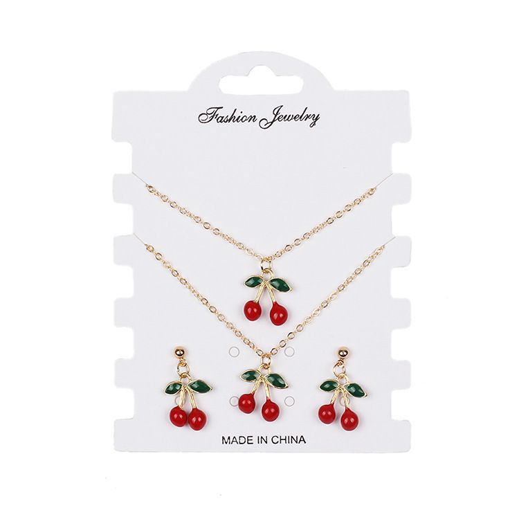 hotselling fashion red cherry alloy bracelet earrings necklace set for women NHRN259938