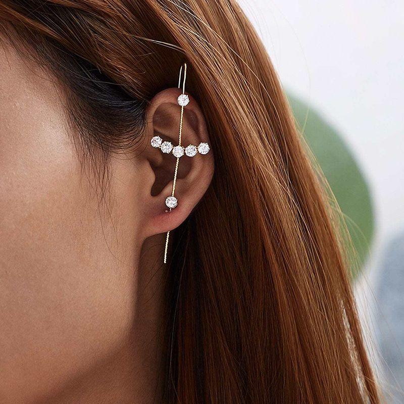 Korean fashion new long surround auricle type alloy ear bone clip earrings for women NHRN259939