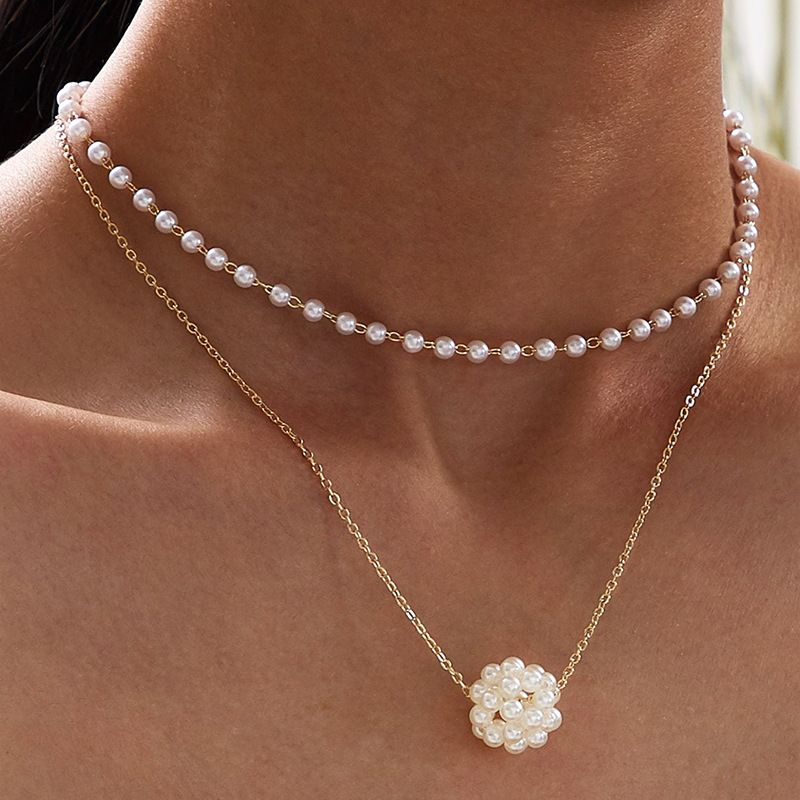 new fashion retro doublelayer pearl metal alloy necklace for women NHRN259957