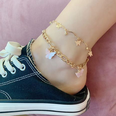 Fashion new tide multi-layer butterfly new alloy anklet wholesale NHRN259969's discount tags