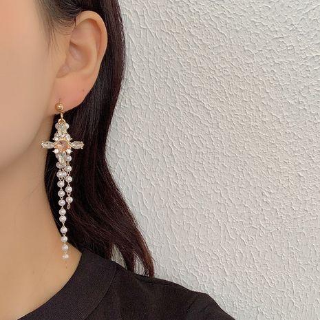 Mode Strass Kreuz Quaste Perle Flut Ohrringe für Frauen Hot-Saling NHRN259970's discount tags