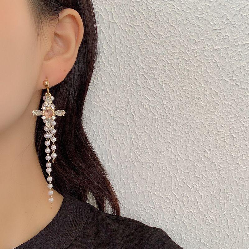 Fashion rhinestone cross tassel pearl tide earrings for women hotsaling NHRN259970
