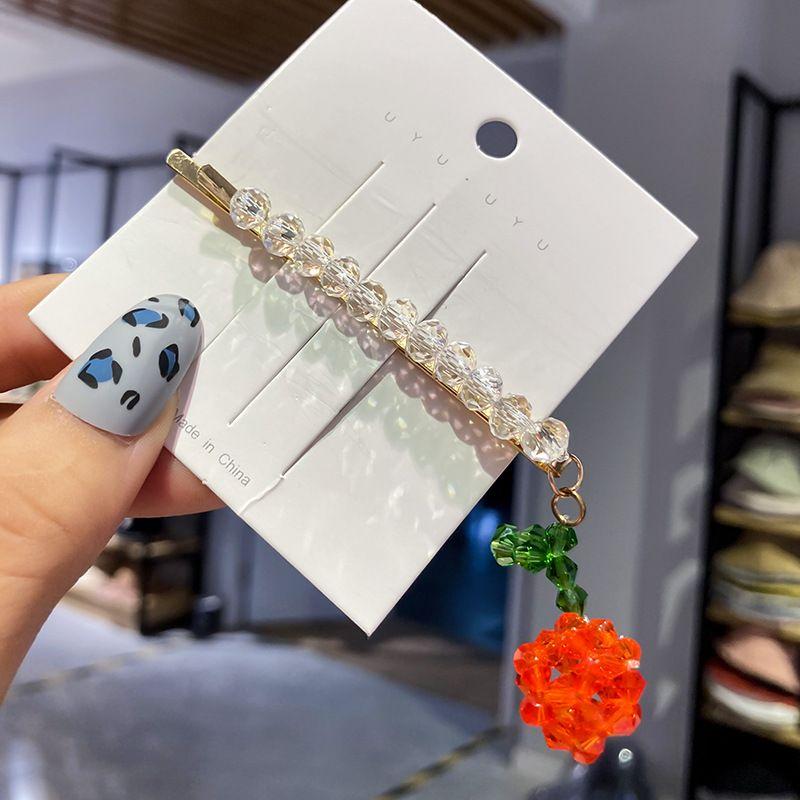 Strawberry rhinestone flower geometric side clip wholesale NHWF259979