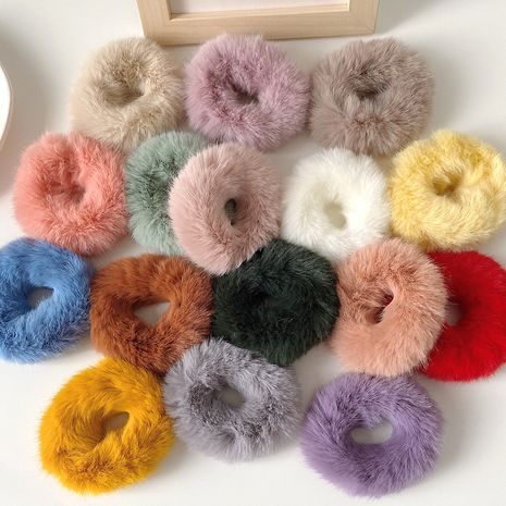 Hot selling fashion furry girl candy color imitation rabbit hair scrunchies NHCQ259988's discount tags