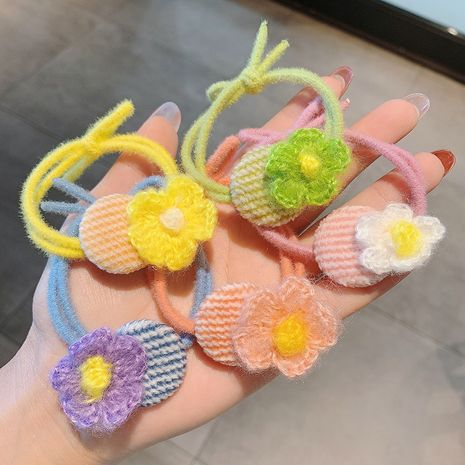 Wool flower hair rope cute rubber band wholesale NHCQ259996's discount tags